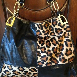 Leopard Badgley Mischka leather bag large